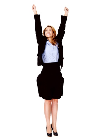 succesful woman: successful business women celebrating with cheer and happy expression. isolated on white Stock Photo