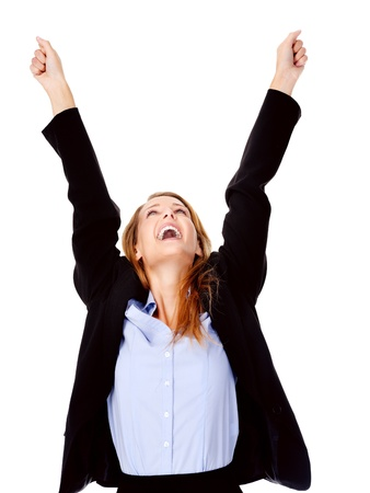 succesful: successful business women celebrating with cheer and happy expression. isolated on white Stock Photo