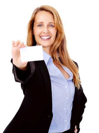 friendly businesswoman with blank businesscard smiling and happe photo