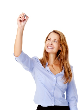 succesful: businesswoman is happy and draws business vision with marker while smiling Stock Photo
