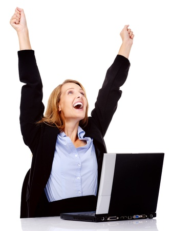 job promotion: excited woman celebrating a promotion in her job