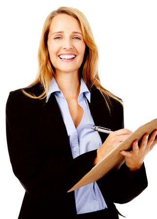 succesful woman: Business woman with a clipboard taking notes on a survey. smile and happy women