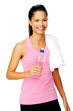 Healthy hispanic lation woman with gym towel and water bottle isolated on white photo