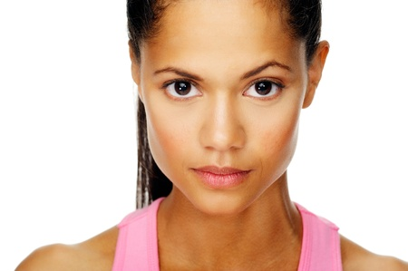 determined: intense woman face portrait with determined expression Stock Photo