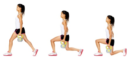 Series of kettlebell weight exercise sequence to promote strength and muscle tone, please see portfolio for more in this series. Stock Photo - 13183215