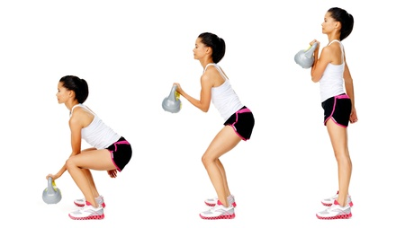Series of kettlebell weight exercise sequence to promote strength and muscle tone, please see portfolio for more in this series. Stock Photo - 13183231
