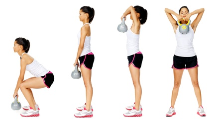 Series of kettlebell weight exercise sequence to promote strength and muscle tone, please see portfolio for more in this series. Stock Photo - 13183211
