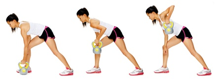 sequence: Series of kettlebell weight exercise sequence to promote strength and muscle tone, please see portfolio for more in this series. Stock Photo