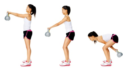 Series of kettlebell weight exercise sequence to promote strength and muscle tone, please see portfolio for more in this series. Stock Photo - 13183233