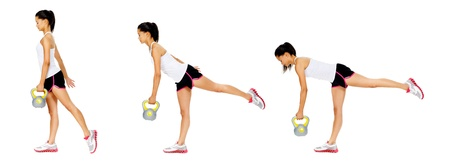 promover: Series of kettlebell weight exercise sequence to promote strength and muscle tone, please see portfolio for more in this series. Banco de Imagens