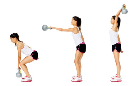 Series of kettlebell weight exercise sequence to promote strength and muscle tone, please see portfolio for more in this series. Stock Photo - 13183391