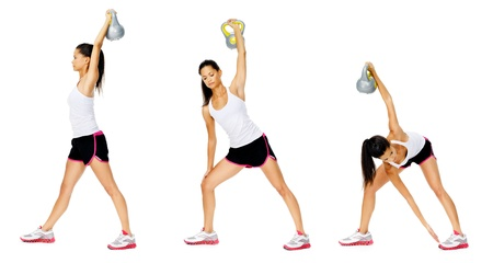 Series of kettlebell weight exercise sequence to promote strength and muscle tone, please see portfolio for more in this series. Stock Photo - 13183264