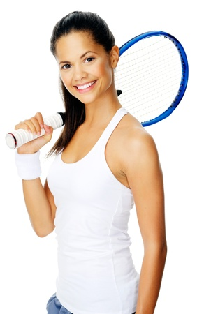 Healthy happy hispanic sport woman with a wristband poses with a tennis racket photo