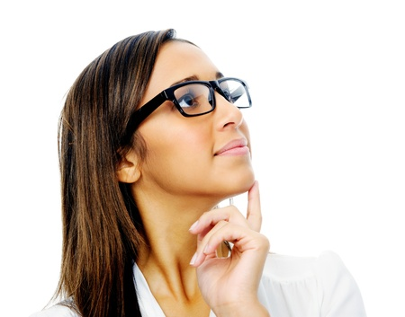 Portrait of a young businesswoman thinking and wearing glasses. isolated on white background.  photo