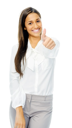 Positive hand gesture businesswoman giving thumbs up sign of motivation or encouragement. Isolated on white background. photo