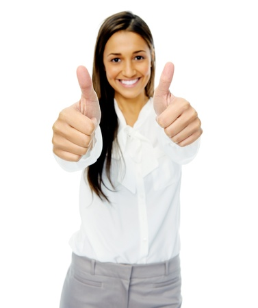 encouragement: Positive hand gesture businesswoman giving thumbs up sign of motivation or encouragement. Isolated on white background.