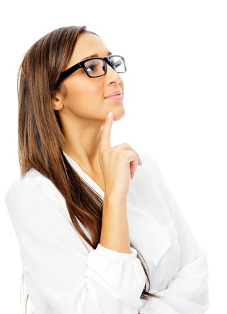 ponder: Thinking hispanic businesswoman portrait with glasses isolated on white background Stock Photo