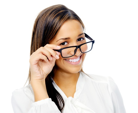 geeky: Cute confident businesswoman portrait with glasses. hispanic woman isolated on white background