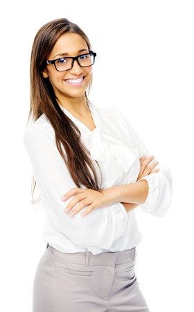 Cute confident businesswoman portrait with glasses. hispanic woman isolated on white background photo