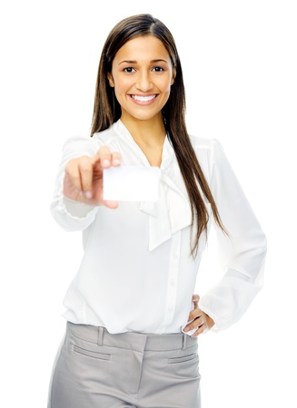 Businesswoman holding blank business card or empty sign with copyspace. isolated on white background. Stock Photo - 14342352