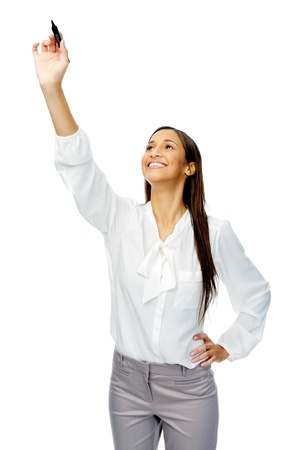 sleeved: Businesswoman in long sleeved shirt holds up a felt tip marker pen to write in mid air, isolated on white
