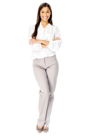 blouse: Portrit of a happy businesswoman with blank white board for advertising copyspace. isolated in studio Stock Photo