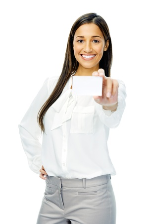 Businesswoman holding blank business card or empty sign with copyspace. isolated on white background. photo