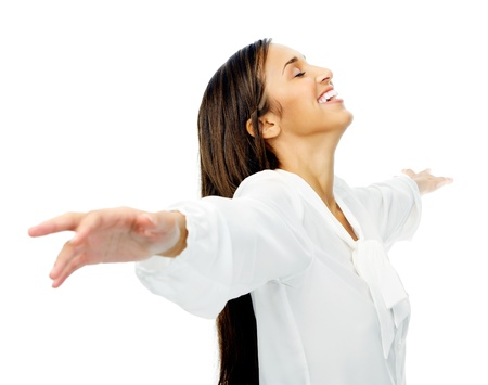 arms  outstretched: Carefree woman is stress free and holds her arms out for freedom and peace of mind. isolated on white background. Stock Photo