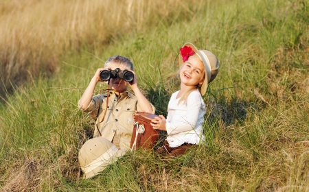cute children playing pretend safari game together outdoors. happy brother and sister Stock Photo - 14874068