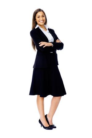 Full length portrait of a confident businesswoman in a suit and heels isolated on white background Stock Photo - 15282830