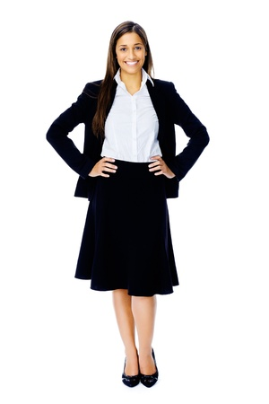 Full length portrait of a confident businesswoman in a suit and heels isolated on white background Stock Photo - 15282836