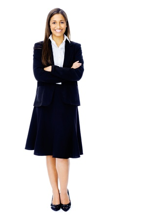 Full length portrait of a confident businesswoman in a suit and heels isolated on white background Stock Photo - 15282829