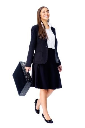 Businesswoman wearing suit walking with briefcase isolated on white background Stock Photo - 15291348
