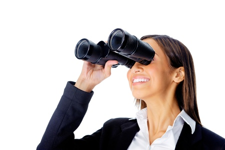 vision concept: Portrait  of a businesswoman searching for new job opportunities with binoculars. can also be used as business vision concept
