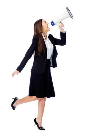 Business woman with megaphone yelling and screaming isolated on white background with suit and high heels Stock Photo - 15291345