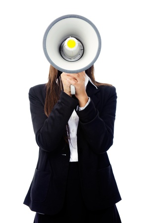 Business woman with megaphone yelling and screaming isolated on white background with suit and high heels Stock Photo - 15291436