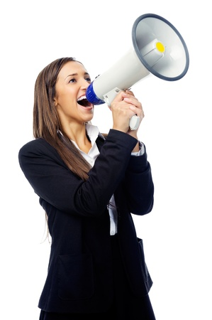 Business woman with megaphone yelling and screaming isolated on white background with suit and high heels photo