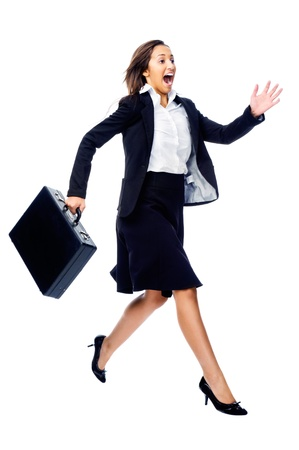 rush hour: Businesswoman in a hurry rushing and running with briefcase isolated on white background Stock Photo