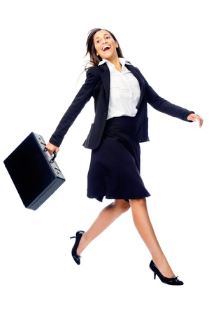 jump suit: Businesswoman in a hurry rushing and running with briefcase isolated on white background Stock Photo