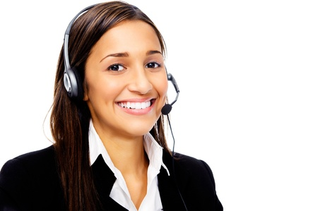 Friendly call center secretary consultant woman with headset telephone and pretty smile photo