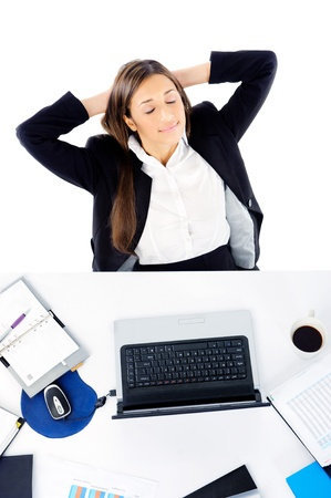 work break: Carefree businesswoman is relaxing at her desk with arms behind her head and daydreaming Stock Photo