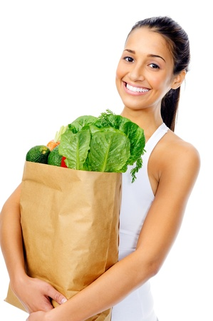 vegetables supermarket: Healthy positive happy woman with paper shopping bag full of organic fruit and vegetables
