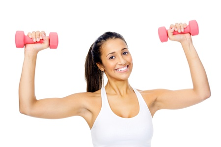 Healthy hispanic woman with dumbbells working out isolated on white background  fitness gym concept photo