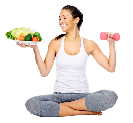 woman healthy: diet and exercise, healthy lifestyle woman isolated on white background