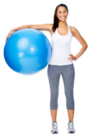 fit ball: Portrait of fit and healthy gym woman with ball isolated on white background, smiling and happy