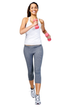 Running woman with dumbbell weights, gym workout isolated on white background photo