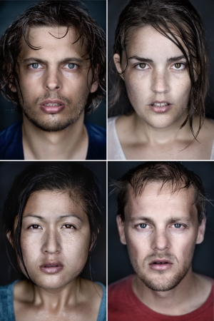 collection of fine art highly detailed portraits. wet faces with intense cold stare and shallow depth of field. mixed race group of people. photo