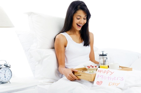 day bed: Happy mothers day breakfast in bed mum with card and tray of delicious food