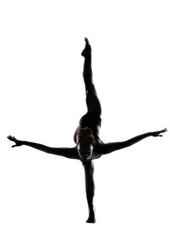 schwarze frau nackt: Ballett-T�nzer in schwarzen body paint-Serie auf wei�em Hintergrund expressive Tanzkunst Konzept isoliert