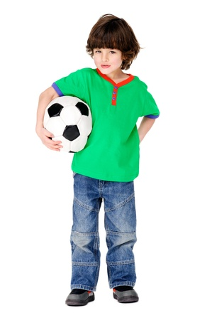 child ball: little soccer player boy with ball having fun isolated on white background
